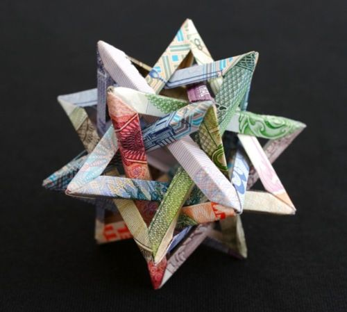 geometric currency sculptures by artist Kristi Malakoff: Money Origami, Paper Money, Pinwheels, Paper Art, Money Sculpture, Currency Sculpture, Money Art, Geometric Shape, Kristy Malakoff