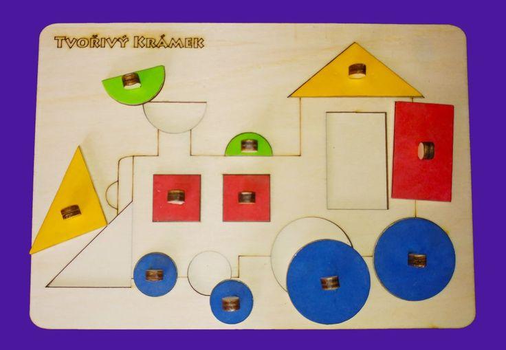 Montessori jemné v barvách | Vkládačka Vlak | Tvořivý krámek