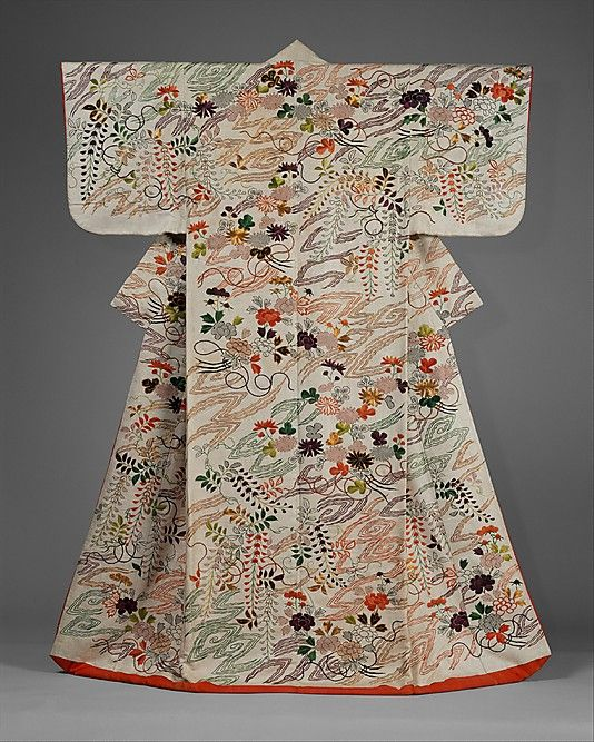 Outer Robe (Uchikake) with Chrysanthemum and Wisteria Bouquets Period: Edo period (1615–1868) Date: second half of the 18th–first half of the 19th century Culture: Japan Medium: Silk and metallic-thread embroidery on resist-dyed and painted silk satin damask (rinzu) Accession Number: 1981.60.1