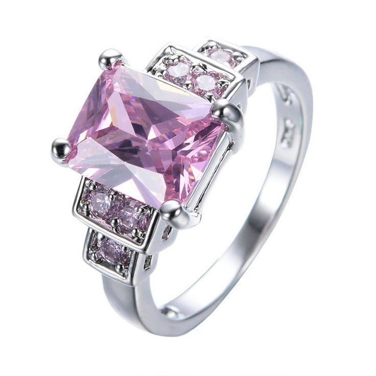 ARICA Elegant Pink Rectangle Zircon Stone White Gold Filled Cute Jewelry Promise Ring 7.0. Occasion: Party. Fine or Fashion: Fashion. Surface Width: 8mm. Rings Type: Wedding Bands. Style: Trendy.