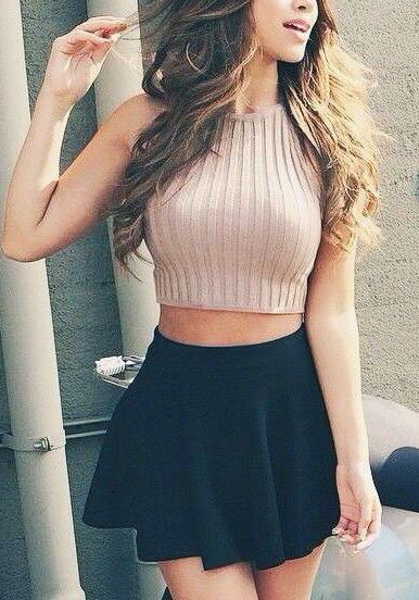 #summer #outfits / knit crop top +  black skirt
