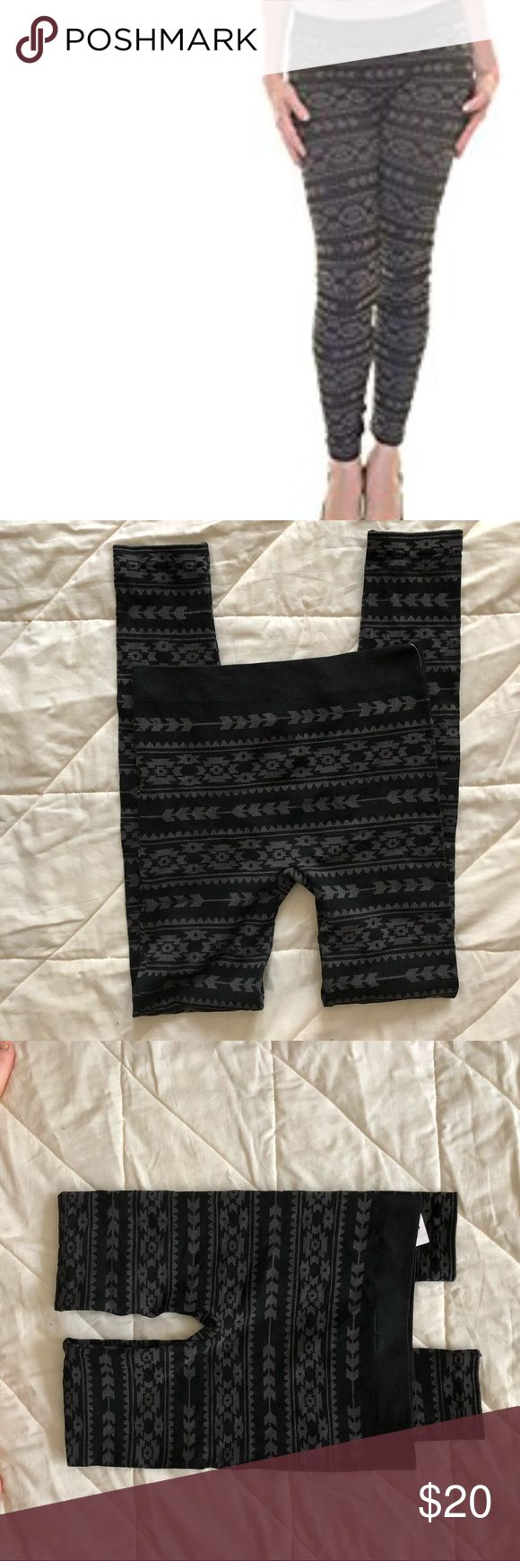Black grey combo tribal print leggings Tribal print black gray combo leggings. Size S/M material is 64% nylon 28% polyester 8% spandex Brand Ultra flirt via Macy's Measurements: use size chart 🚫modeling  🚫trades (askers will be ignored) or lowballing  ✅ will consider offers made through BLUE offer button.  LB ✅ great bundle Macy's Pants