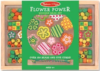 Melissa & Doug Flower Beads Set Your child's creativity will blossom when presented with these vibrantly coloured, hand-crafted wooden beads. A garden of flower shaped beads, in several sizes and an array of beautifully shaped beads may be strung onto 5 colour-coordinated cords. Includes over 150 beads. $22 and in stock. Follow this link for more information http://www.shellstreasures.com.au/#!product/prd1/1215363981/melissa-%26-doug-flower-beads-set