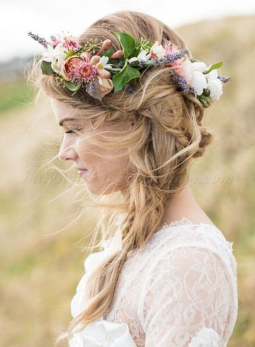 wedding hair with flowers, floral hair accessories for brides - beach wedding hairstyle with floral crown