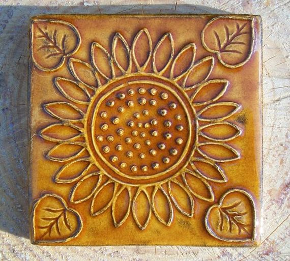 Sunflower Wild Honey Glazed Ceramic Tile   by FarRidgeCeramics, $14.00. Get these and the other sunflower one you have put a side.