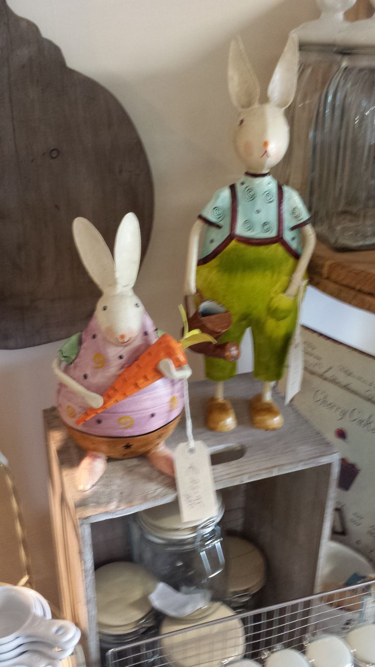 """Rabbits manufactured from metal. A Fair Trade product from The Store Room Gorey. The big fellow is 15 cm high and the smaller one is 11 cm.  € 27.95 & € 23.95  """" Sold out """""""