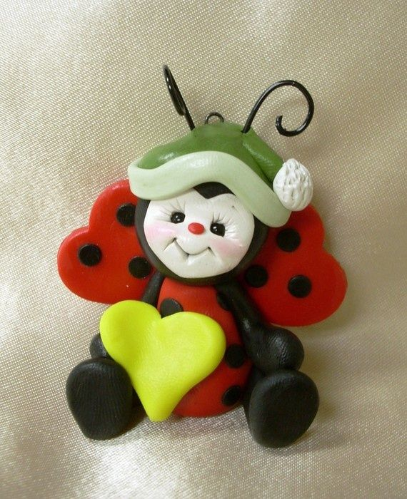 Old Lady Knitting Cake Topper : Ladybug lady bug sculpture christmas ornament