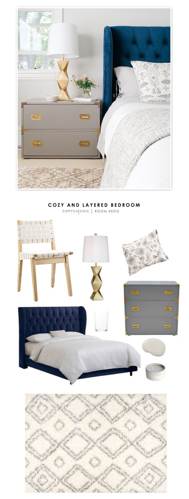 A cozy and layered bedroom designed by Emily Henderson and recreated for $1893 by /audreycdyer/