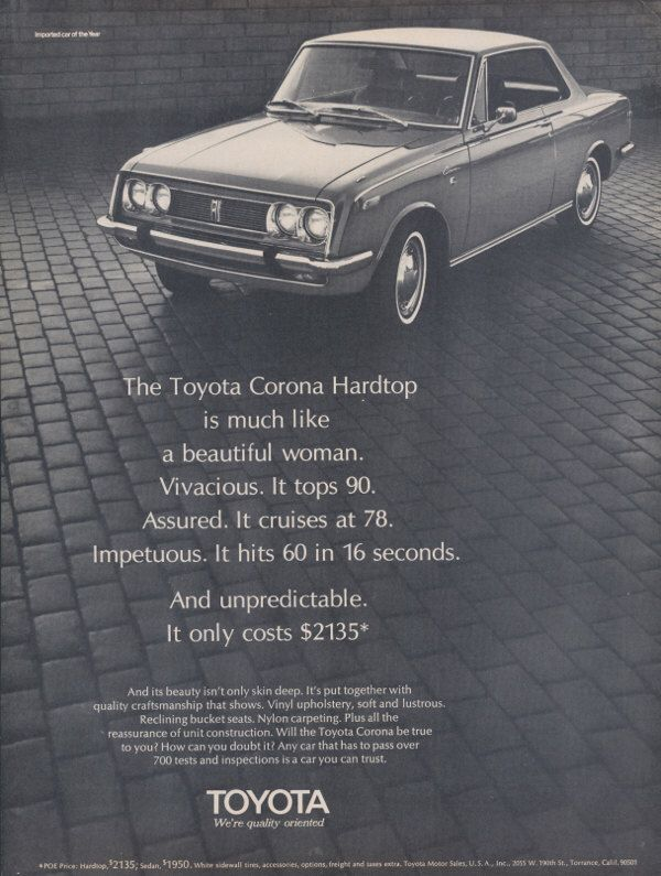 1968 Toyota Corona Hardtop Car Photo Ad Vintage Advertising Beautiful Woman Print Wall Art Decor by AdVintageCom on Etsy https://www.etsy.com/listing/212359831/1968-toyota-corona-hardtop-car-photo-ad