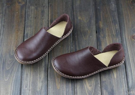Handmade Shoes,Oxford Women Shoes, Flat Shoes, Retro Leather Shoes, Casual…