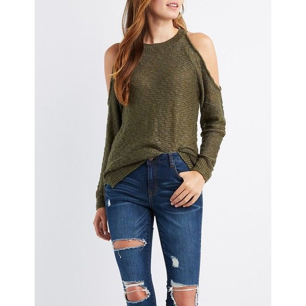 Charlotte Russe Slub Knit Cold Shoulder Sweater ($16) ❤ liked on Polyvore featuring tops, sweaters, olive, long sleeve sweater, open shoulder sweater, long sleeve cold shoulder tops, cut out sweater and olive green sweater