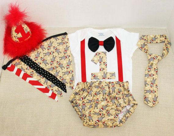 Rylo Sock Monkey cake smash outfit with party hat and banner by RYLOwear, $12.00+