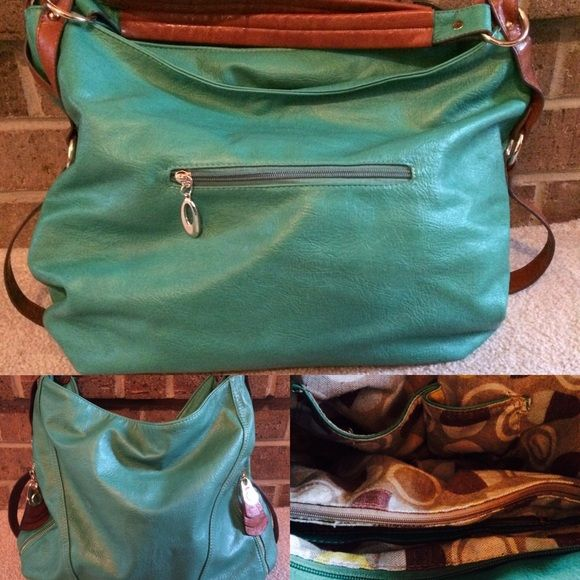 Turquoise Purse Perfect condition Nordstrom turquoise purse, brown straps, several pockets and zippers, barely used! Nordstrom Bags Shoulder Bags