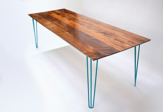 Midcentury Inspired Solid Walnut Table with Hairpin legs. -1 Solid black walnut tabletop, FSC certified lumber from Amish Mill here in Ohio. No