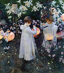 ジョン・シンガー・サージェント『カーネーション、リリー、リリー、ローズ』1885-1887年  当時日本から輸出されていた盆提灯が多く配され、また咲いているユリも日本から球根が輸出されていたヤマユリである(花の中心にある黒い斑点と黄色い芒はヤマユリに特徴的)。当時のヨーロッパ画壇を席巻していたジャポニスムの影響がうかがわれる。エンヤの『On My Way Home』のミュージックビデオでは、この情景が実写で再現されている。