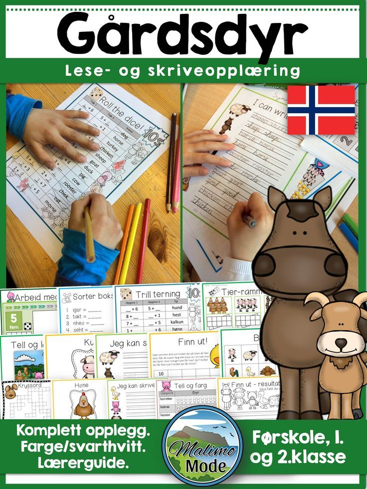 Norwegian Farm Animals Vocabulary, Math and Literacy Unit, such a great way to learn about farm animals while working on vocabulary, math and literacy tasks. In addition to this; fact based writing sheets, bingo and flash cards. Everything you need for some fun learning! It has been a great hit in my classroom, so just print and go!