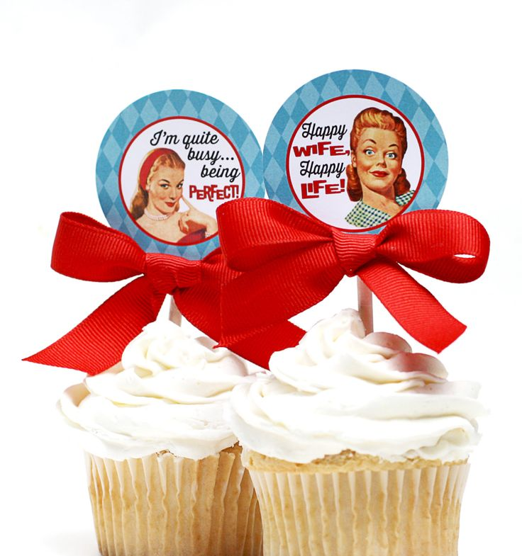 Retro Housewife Bridal Shower Cupcake Toppers - PERFECT HOUSEWIFE Printable by ConfettiPrintsShop on Etsy https://www.etsy.com/listing/196783115/retro-housewife-bridal-shower-cupcake