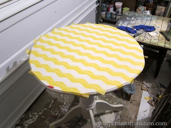 See how this table looks now....Chevron Frog Tape Shape Tape project Petticoat Junktion @frogtape