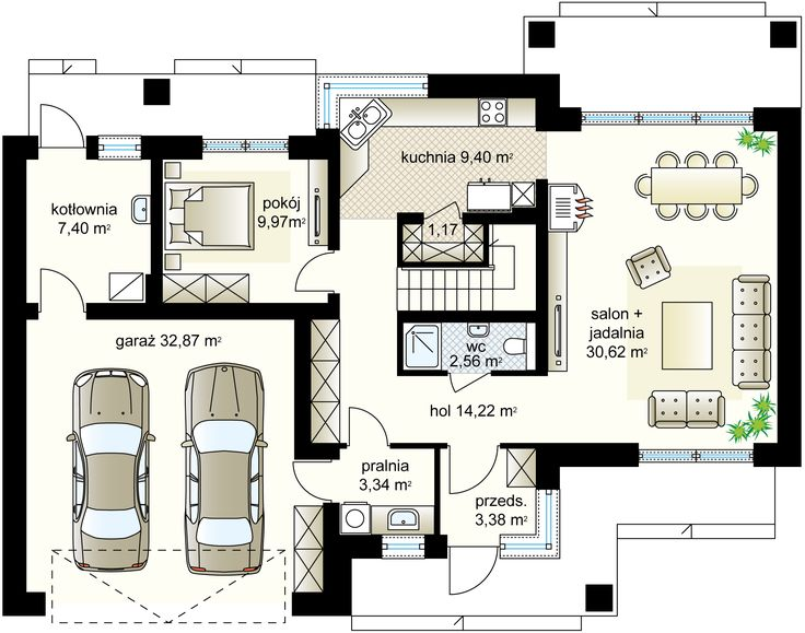 Verona III NF40 projekt - Parter 82.06 m²  + garaż 32.87 m²