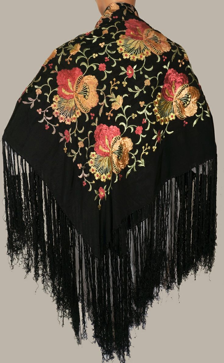 Vintage Spanish Floral Embroidered Silk Shawl