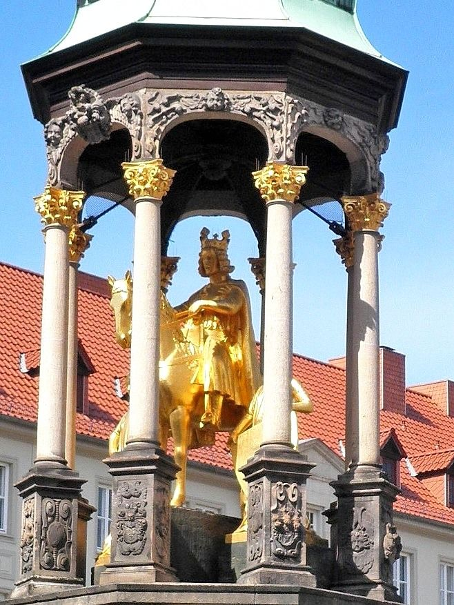 """Statue of Otto I (912 – 973), Magdeburg, Germany. Otto I, or Otto the Great, was the founder of the Holy Roman Empire, reigning as German king from 936 until his death in 973 and """"the first of the Germans to be called the emperor of Italy"""". The Ottonian Renaissance began During his reign and last until 1000. The first outstanding examples of German painting and sculpture were created (c.960–c.1060) during the Ottonian dynasty."""