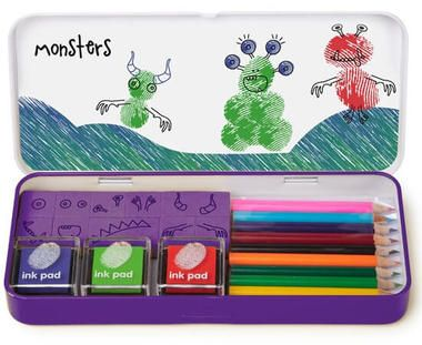 Monsters Finger Print Art Set and more Quirky Gifts at Perpetual Kid. Fun art at your fingertips!  Your fingerprints are unique so turn them into colorful crea