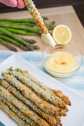 Asparagus coated in panko bread crumbs and parmesan and baked until golden brown and crispy.