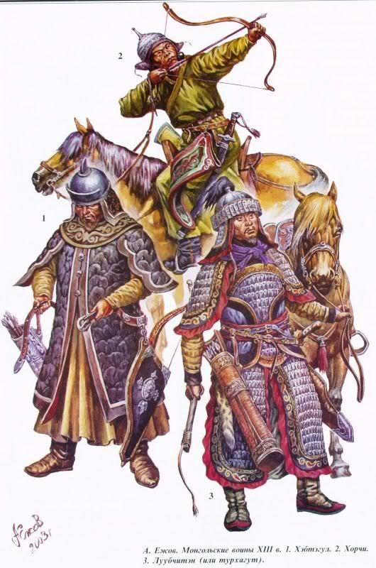 Caballero y arqueros mongoles