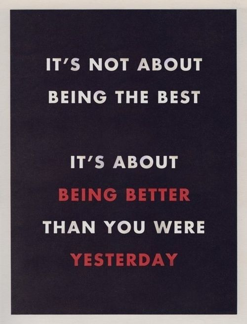 It is not about being the best, it is about being better than you were yesterday. #fitness #quotes