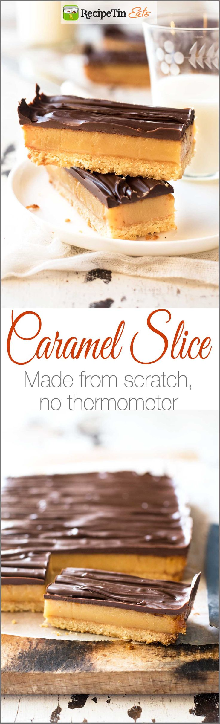 Chocolate Caramel Slice - Learn the secret to a perfect soft set caramel filling WITHOUT using a thermometer....it's so easy!