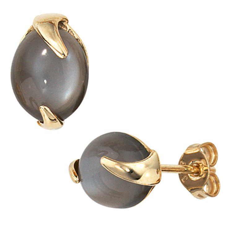 NEU Luxus Edelstein Ohrringe Mondstein 585 echt Gold Gelbgold Ohrstecker 14KT