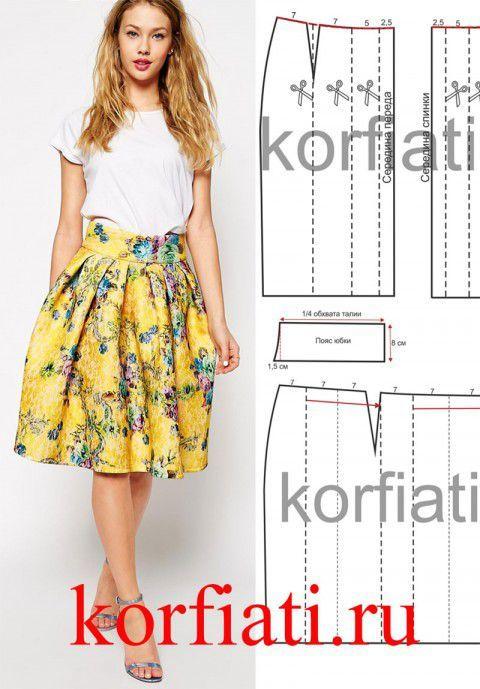 Выкройка юбки с широким поясом от А. Корфиати