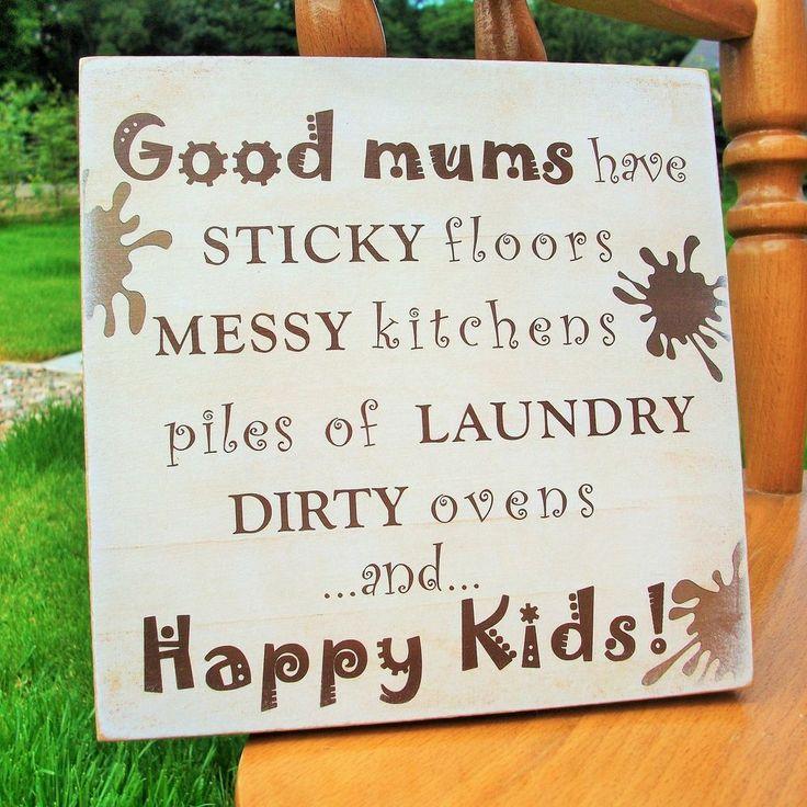 Good mums, dads, happy kids, kitchen, children, home, HANDMADE wooden plaque