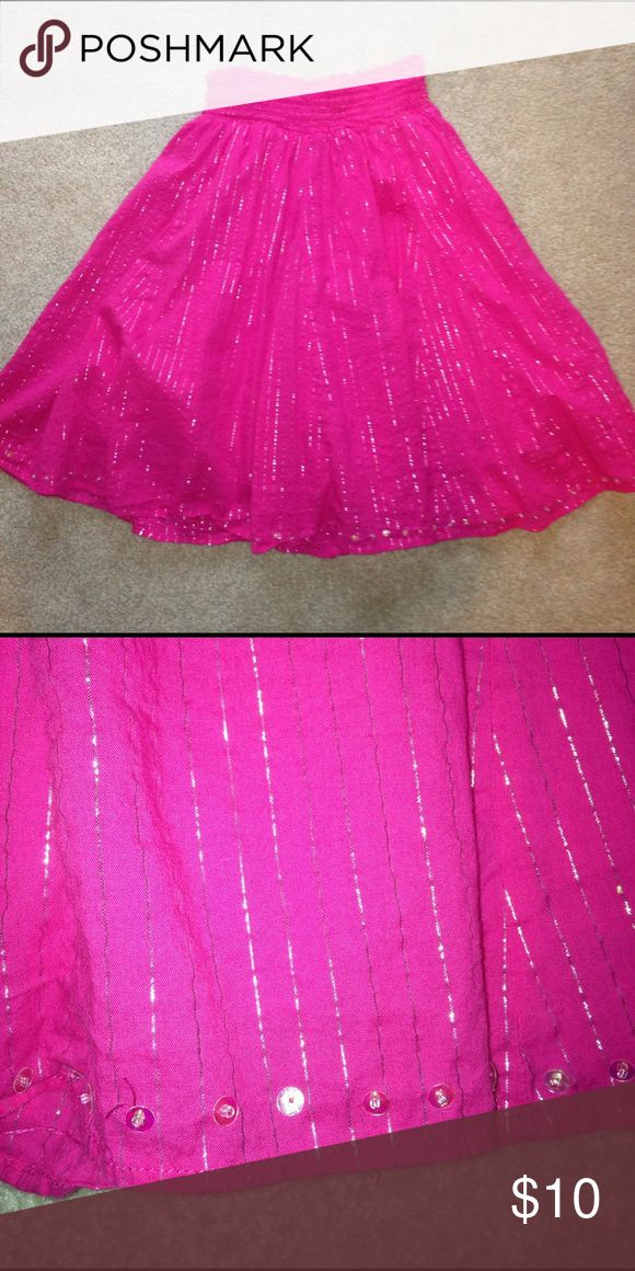 Justice Hot Pink Silver Sequin Maxi Skirt Size 8 Justice hot pink with silver metallic threads and Sequin maxi midi skirt. Size 8. In good condition. Please ask any questions  💲Open To Offers💲 🚫No Trades🚫 📦Ask About Bundle Discounts💰 Justice Bottoms Skirts