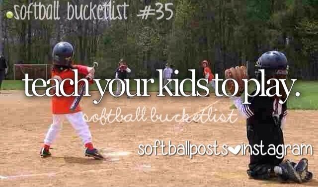 Softball...Will teach my baby girl all I can in hopes she will love it like I do