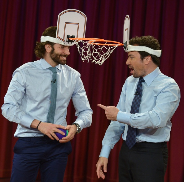 "Come on, this is just a little irresistible. Hollywood hunk Bradley Cooper and funnyman Jimmy Fallon got down to business with a friendly game of ""face-ketball"" during a segment of 'Late Night with Jimmy Fallon.'"