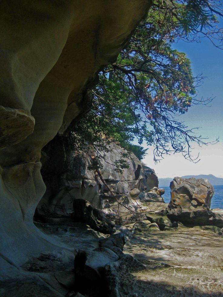 Sandstone sculpted overhang, Gabriola Island, BC