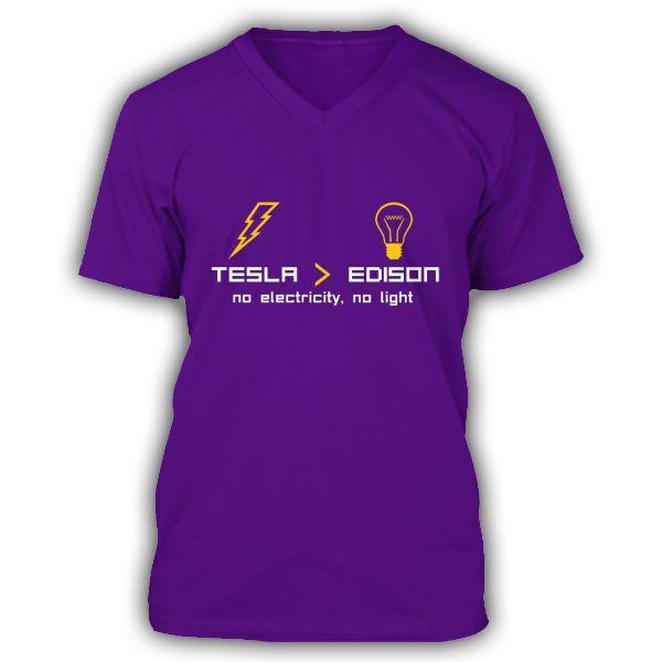 NIKOLA TESLA vs EDISON Purple V-neck premium T-Shirt