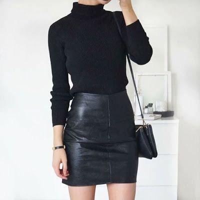 Black leather mini skirt with black turtleneck sweater.