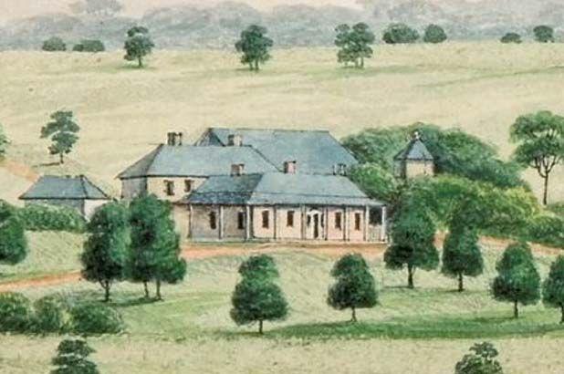 Elizabeth Farm (home of John MacArthur) in a rural landscape. Joseph Lycett 1825