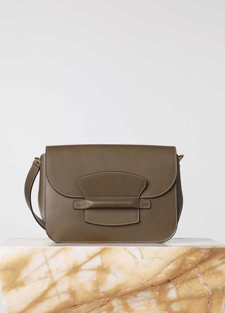 Medium Tab Bag in Khaki Natural Calfskin - Fall / Winter ...