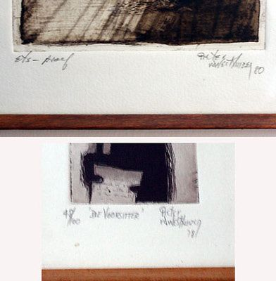 The signatures on two etchings by the South African artist Pieter van der Westhuizen. The top is an artist's edition proof, the bottom is number 48 from an edition of 100.