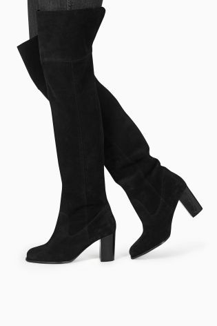Buy Leather Over The Knee Slouch Boots online today at Next: Israel