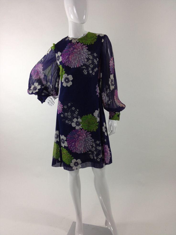 Abito in cotone Vintage anni 70 Vintage cotton floral dress 70s