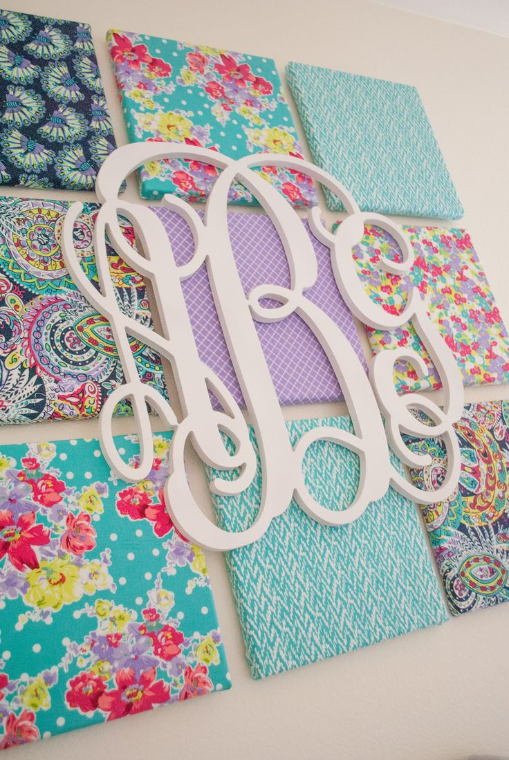 diy fabric canvas and monogram wall art adorable look in a nursery or kids room - Kids Room Wall Decor Ideas