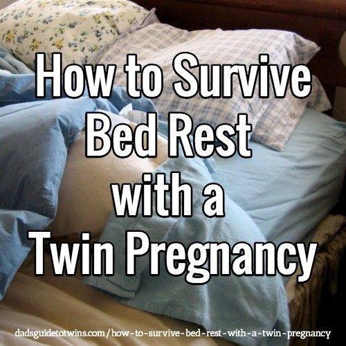 Expecting twins? Bed rest with a twin pregnancy is a very common. Here are proven tips for handling bed rest including practical things dad can do to help: http://www.dadsguidetotwins.com/how-to-survive-bed-rest-with-a-twin-pregnancy/