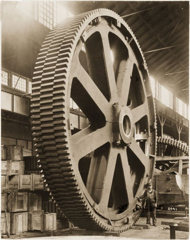 Huge gear manufacturing. Mesta could mold, cast, forge, machine and field-test huge components under one roof — literally — a full-service shop of the sort that no longer exists in the U.S. Photo: Carnegie Museum of Art.