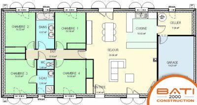 plan maison plain pied 4 chambres en l