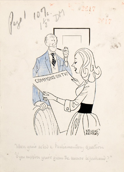 """""""When you're asked a Parliamentary question d'you suppose you're given the answer beforehand?"""" On 2 November 1959, Charles Van Doren admitted to cheating on American quiz show Twenty One by being given the answers in advance.    Sheet size: 191 × 139 mm. Pen and ink and blue pencil crayon on wove paper. Stamped on verso for publication in the Daily Mail, 5 Nov 1959."""