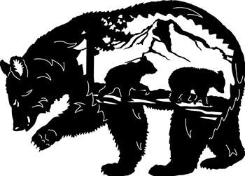 "Momma Bear silhouette with her cubs on a mountain 38"" x 27"""